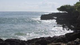 Wellen, die auf den Felsen auf Strand brechen stock video
