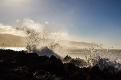 Wellen, die auf Felsen nahe Haleiwa - Nordufer Oahu spritzen stockbild