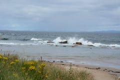 Wellen, die auf Felsen zusammenstoßen Stockbild