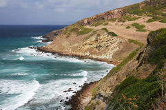 Wellen, die auf Klippe 31 abbrechen Stockbild