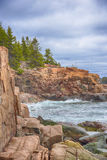 Wellen entlang Küstenlinie, Acadia-Nationalpark, Maine Lizenzfreies Stockfoto