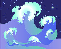 Wellen mit Schaumgummi im Meer stock abbildung
