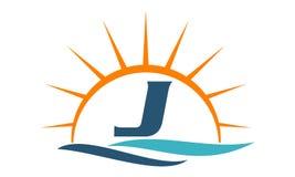 Wellen-Sonnenuntergang-Initiale J Lizenzfreie Stockbilder