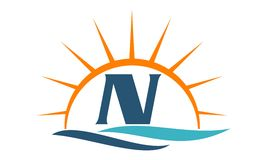 Wellen-Sonnenuntergang-Initiale N Stockfoto