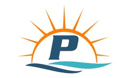 Wellen-Sonnenuntergang-Initiale p Lizenzfreies Stockbild