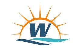 Wellen-Sonnenuntergang-Initiale W Lizenzfreies Stockfoto