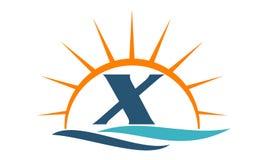 Wellen-Sonnenuntergang-Initiale X Lizenzfreie Stockfotografie