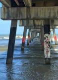 Wellen stoßen durch die Säulen eines Piers zusammen, der heraus in den Ozean verlängert wird Stockfotos