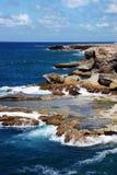 Wellen und Klippe Stockfoto