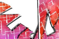 Wellen und Quadrate mit purpurroter Farbe, abstrakter Hintergrund Stockfotografie