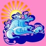 Wellen und Sun Vector Abbildung Stockbilder