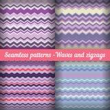Wellen und Zickzacke - Satz nahtlose Muster In Lizenzfreie Stockbilder