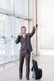 Wellenartig bewegen Auf Wiedersehen am Flughafen Stockfotografie