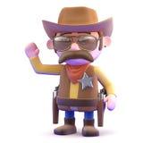 Wellenartig bewegen des Cowboys 3d Lizenzfreie Stockbilder
