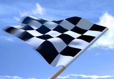 Wellenartig bewegen einer checkered Markierungsfahne Lizenzfreie Stockfotografie