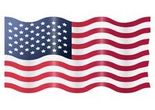 Wellenartig bewegen USA-amerikanischer Flagge Vektorabbildung getrennt auf weißem Hintergrund Stockbilder