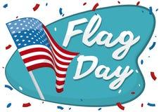 Wellenartig bewegende amerikanische Flagge mit den Konfettis, zum des Flaggen-Tages, Vektor-Illustration zu gedenken Stockfotografie