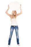 Wellenartig bewegende Anschlagtafel der blonden Frau Lizenzfreies Stockfoto