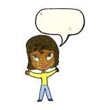 wellenartig bewegende Arme der glücklichen Frau der Karikatur mit Spracheblase Lizenzfreies Stockbild