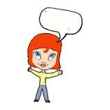 wellenartig bewegende Arme der glücklichen Frau der Karikatur mit Spracheblase Lizenzfreie Stockfotos