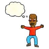 wellenartig bewegende Arme des alten Mannes der Karikatur mit Gedankenblase Stockbilder