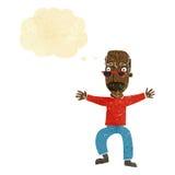 wellenartig bewegende Arme des alten Mannes der Karikatur mit Gedankenblase Lizenzfreies Stockbild