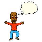 wellenartig bewegende Arme des alten Mannes der Karikatur mit Gedankenblase Stockbild