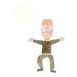 wellenartig bewegende Arme des alten Mannes der Karikatur mit Gedankenblase Stockfotografie