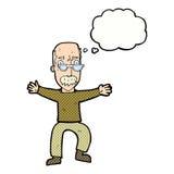 wellenartig bewegende Arme des alten Mannes der Karikatur mit Gedankenblase Lizenzfreie Stockfotografie