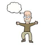 wellenartig bewegende Arme des alten Mannes der Karikatur mit Gedankenblase Lizenzfreie Stockfotos