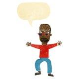 wellenartig bewegende Arme des alten Mannes der Karikatur mit Spracheblase Stockfoto