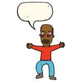 wellenartig bewegende Arme des alten Mannes der Karikatur mit Spracheblase Stockfotos