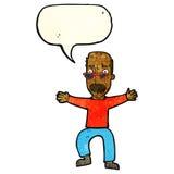 wellenartig bewegende Arme des alten Mannes der Karikatur mit Spracheblase Lizenzfreie Stockfotos