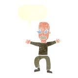 wellenartig bewegende Arme des alten Mannes der Karikatur mit Spracheblase Stockfotografie
