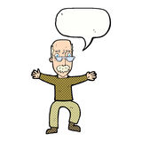 wellenartig bewegende Arme des alten Mannes der Karikatur mit Spracheblase Stockbilder