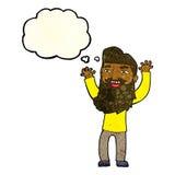 wellenartig bewegende Arme des glücklichen bärtigen Mannes der Karikatur mit Gedankenblase Lizenzfreie Stockbilder