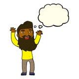 wellenartig bewegende Arme des glücklichen bärtigen Mannes der Karikatur mit Gedankenblase Lizenzfreies Stockbild