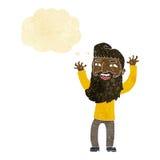wellenartig bewegende Arme des glücklichen bärtigen Mannes der Karikatur mit Gedankenblase Stockbild