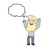 wellenartig bewegende Arme des glücklichen bärtigen Mannes der Karikatur mit Gedankenblase Stockfoto