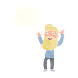 wellenartig bewegende Arme des glücklichen bärtigen Mannes der Karikatur mit Gedankenblase Stockfotografie