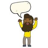 wellenartig bewegende Arme des glücklichen bärtigen Mannes der Karikatur mit Spracheblase Stockbilder