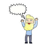 wellenartig bewegende Arme des glücklichen bärtigen Mannes der Karikatur mit Spracheblase Lizenzfreie Stockfotos