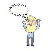 wellenartig bewegende Arme des glücklichen bärtigen Mannes der Karikatur mit Spracheblase Stockfotos