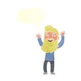 wellenartig bewegende Arme des glücklichen bärtigen Mannes der Karikatur mit Spracheblase Stockfoto