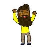 wellenartig bewegende Arme des komischen Mannes der Karikatur glücklichen bärtigen Lizenzfreie Stockfotos