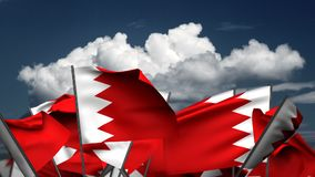 Wellenartig bewegende Bahrain-Flaggen