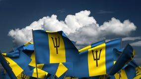 Wellenartig bewegende Barbados-Flaggen