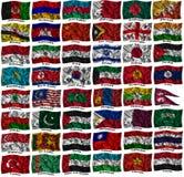 Wellenartig bewegende bunte Asien-Markierungsfahnen Lizenzfreies Stockbild