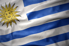 Wellenartig bewegende bunte Flagge von Uruguay Stockbilder