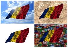 Wellenartig bewegende bunte Rumänien-Markierungsfahnencollage Stockbilder